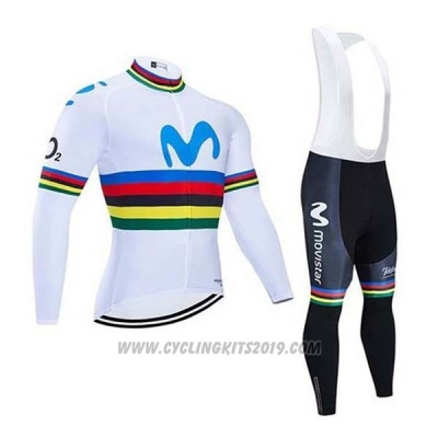 2020 Cycling Jersey UCI World Champion Movistar White Blue Long Sleeve and Bib Tight