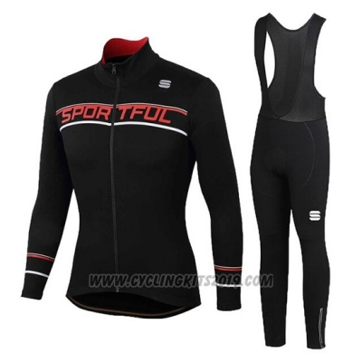 2020 Cycling Jersey Women Sportful Black Red Long Sleeve and Bib Tight