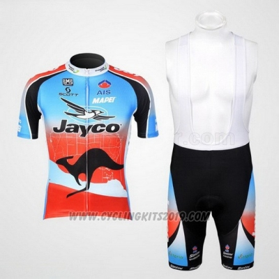 Cycling Jersey Jayco Sky Blue and Red Short Sleeve and Bib Short