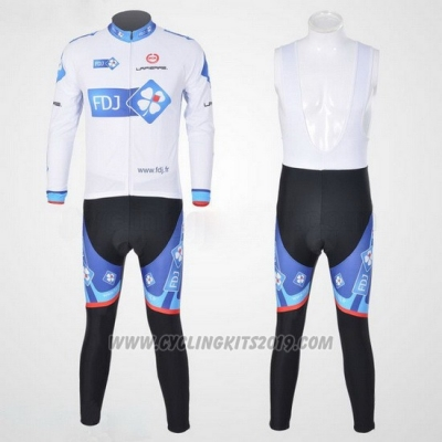 2010 Cycling Jersey FDJ White and Sky Blue Long Sleeve and Bib Tight