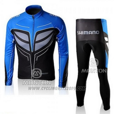 2010 Cycling Jersey Shimano Blue and Black Long Sleeve and Bib Tight