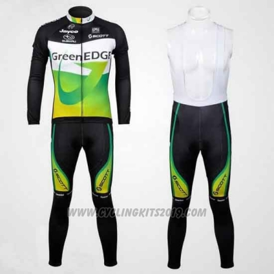 2012 Cycling Jersey GreenEDGE Black and Green Long Sleeve Bib Short