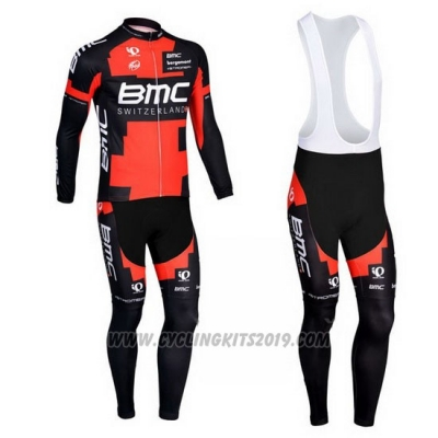 2013 Cycling Jersey BMC Black and Red Long Sleeve and Bib Tight