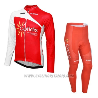 2013 Cycling Jersey Cofidis Red Long Sleeve and Bib Tight