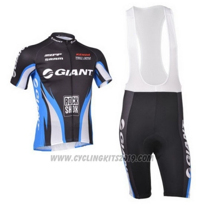 2013 Cycling Jersey Giant Blue and Black Short Sleeve and Bib Short