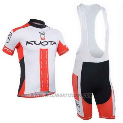2013 Cycling Jersey Kuota Red and White Short Sleeve and Bib Short