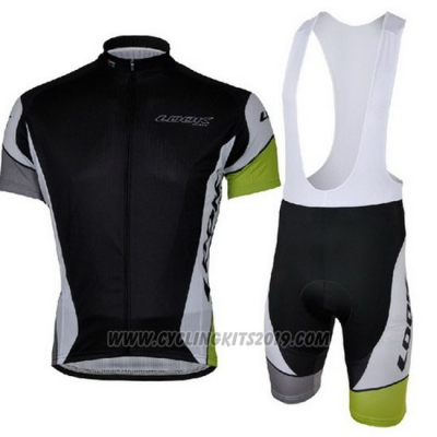 2013 Cycling Jersey Look Black and Green Short Sleeve and Bib Short