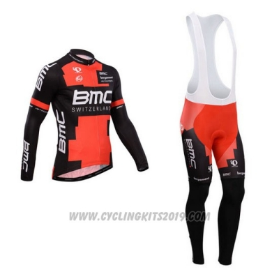 2014 Cycling Jersey BMC Black and Red Long Sleeve and Bib Tight
