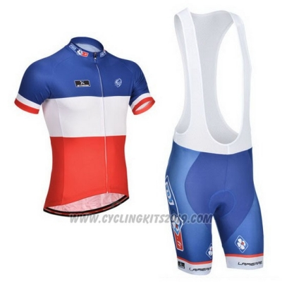 2014 Cycling Jersey FDJ Blue Campione France Short Sleeve and Bib Short
