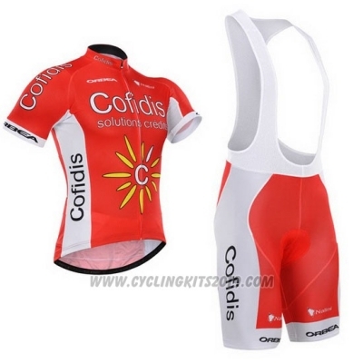 2015 Cycling Jersey Cofidis Red Short Sleeve and Bib Short
