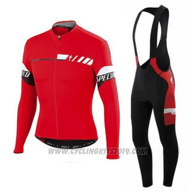 2015 Cycling Jersey Specialized Deep Red Long Sleeve and Bib Tight