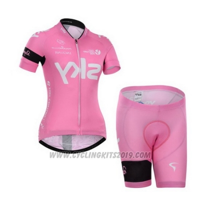 2015 Cycling Jersey Women Sky Fuchsia Short Sleeve and Bib Short