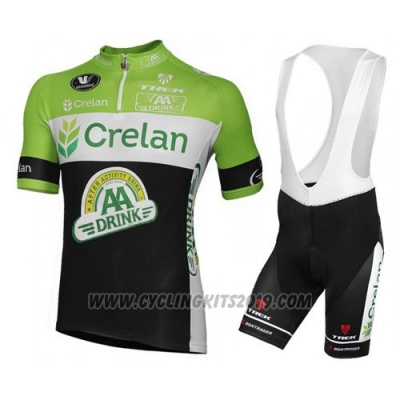 2016 Cycling Jersey Crelan AA Green and Black Short Sleeve and Bib Short