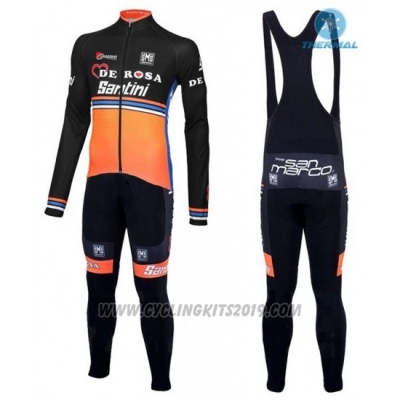 2016 Cycling Jersey De Pink Black and Orange Long Sleeve and Bib Tight