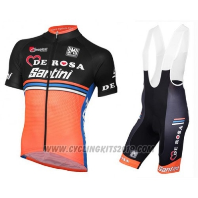 2016 Cycling Jersey De Pink Black and Orange Short Sleeve and Bib Short