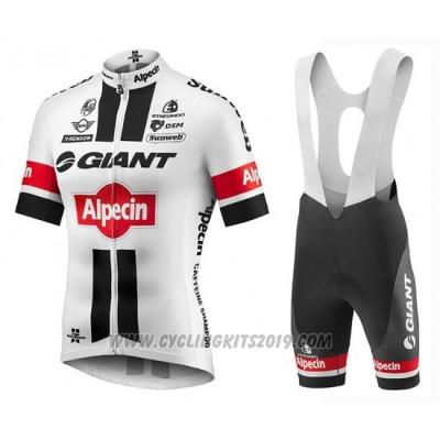 2016 Cycling Jersey Giant Alpecin White and Red Short Sleeve and Bib Short