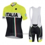 2016 Cycling Jersey Italy Black and Yellow Short Sleeve and Bib Short