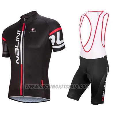 2016 Cycling Jersey Nalini Black and Red Short Sleeve and Salopette