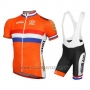 2016 Cycling Jersey Netherlands Orange and Blue Short Sleeve and Bib Short
