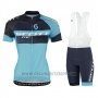 2016 Cycling Jersey Scott Black Blue Short Sleeve and Salopette