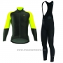 2017 Cycling Jersey ALE Capo Nord Black and Yellow Long Sleeve and Bib Tight