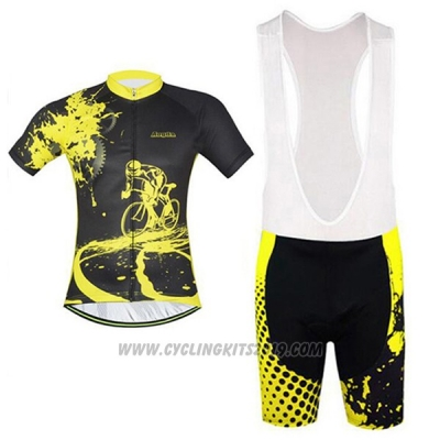2017 Cycling Jersey Aogda Black and Yellow Short Sleeve and Bib Short