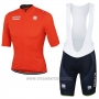 2017 Cycling Jersey Bahrain Merida Orange Short Sleeve and Bib Short