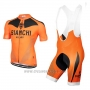 2017 Cycling Jersey Bianchi Orange Short Sleeve and Bib Short