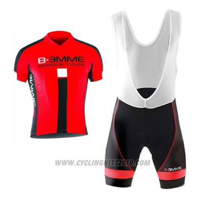 2017 Cycling Jersey Biemme Identity Black and Red Short Sleeve and Bib Short