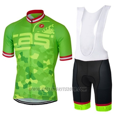2017 Cycling Jersey Castelli Bright Green Short Sleeve and Bib Short