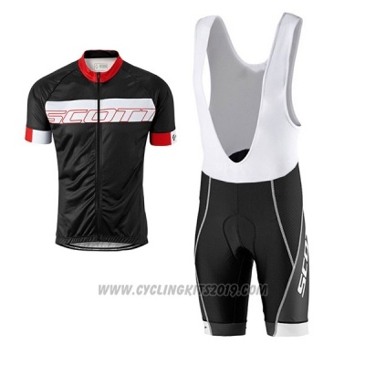 2017 Cycling Jersey Scott Black and Red Short Sleeve and Salopette