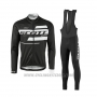2017 Cycling Jersey Scott Black and White Long Sleeve and Salopette
