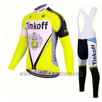 2017 Cycling Jersey Tinkoff Yellow Long Sleeve and Bib Tight
