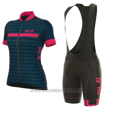 2017 Cycling Jersey Women ALE Excel Riviera Blue and Pink Short Sleeve and Bib Short