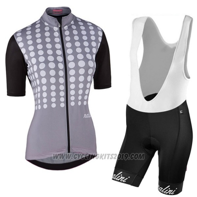 2017 Cycling Jersey Women Nalini Optical Black and Gray Short Sleeve and Bib Short