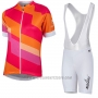 2017 Cycling Jersey Women Nalini Stripe Red and Orange Short Sleeve and Bib Short