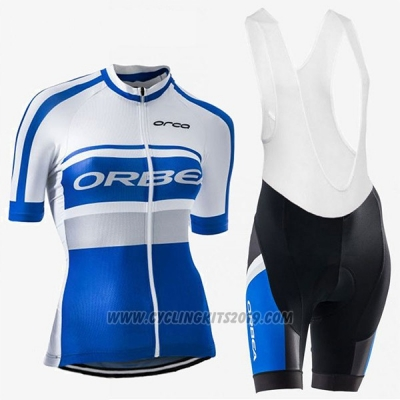 2017 Cycling Jersey Women Orbea Blue and White Short Sleeve and Bib Short