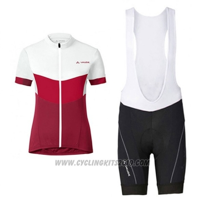 2017 Cycling Jersey Women Vaude White and Red Short Sleeve and Bib Short