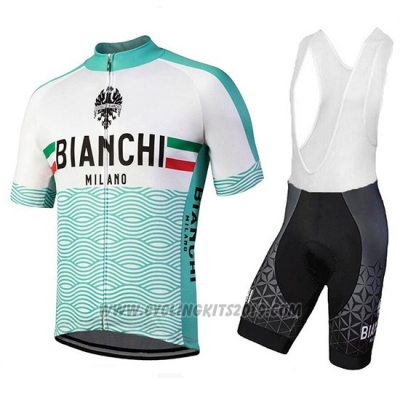 2018 Cycling Jersey Bianchi Attone White and Green Short Sleeve and Bib Short