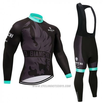 2018 Cycling Jersey Bianchi Black and Blue Long Sleeve and Bib Tight