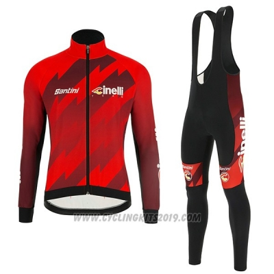 2018 Cycling Jersey Cinelli Dark Red Long Sleeve and Bib Tight