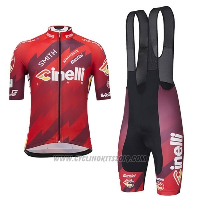2018 Cycling Jersey Cinelli Dark Red Short Sleeve and Bib Short