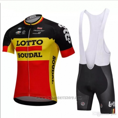 2018 Cycling Jersey Lotto Soudal Black and Yellow Short Sleeve and Bib Short