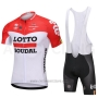 2018 Cycling Jersey Lotto Soudal White and Red Short Sleeve and Bib Short
