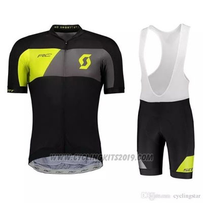 2018 Cycling Jersey Scott Black Yellow Short Sleeve and Bib Short