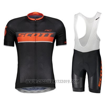 2018 Cycling Jersey Scott Rc Black Short Sleeve and Salopette