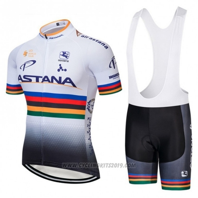 2018 Cycling Jersey UCI Mondo Campione Astana White Short Sleeve and Bib Short
