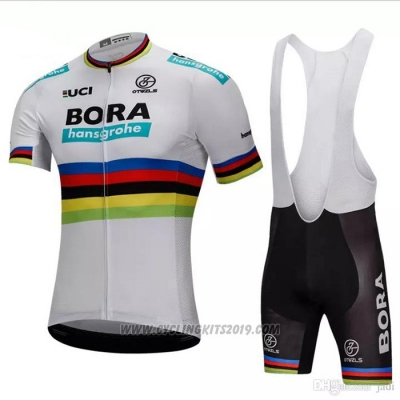2018 Cycling Jersey UCI Mondo Campione Bora White Short Sleeve and Bib Short