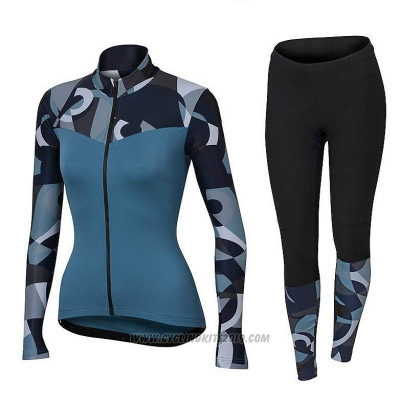 2018 Cycling Jersey Women Orbea Blue Long Sleeve and Bib Tight