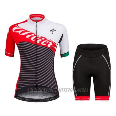 2018 Cycling Jersey Women Wilier Vale Red Short Sleeve and Bib Short